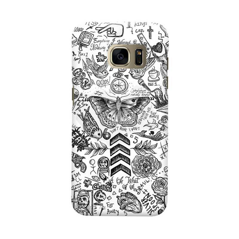 Indocustomcase Tattoo Cover Hardcase Casing for Samsung Galaxy S7 Edge