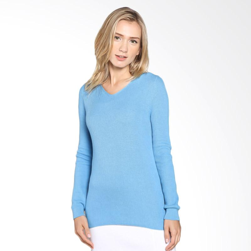 Noir Sur Blanc Vneck Long Sleeve Aeon knitwear Bonie Atasan Wanita - Blue Extra diskon 7% setiap hari Extra diskon 5% setiap hari Citibank – lebih hemat 10%