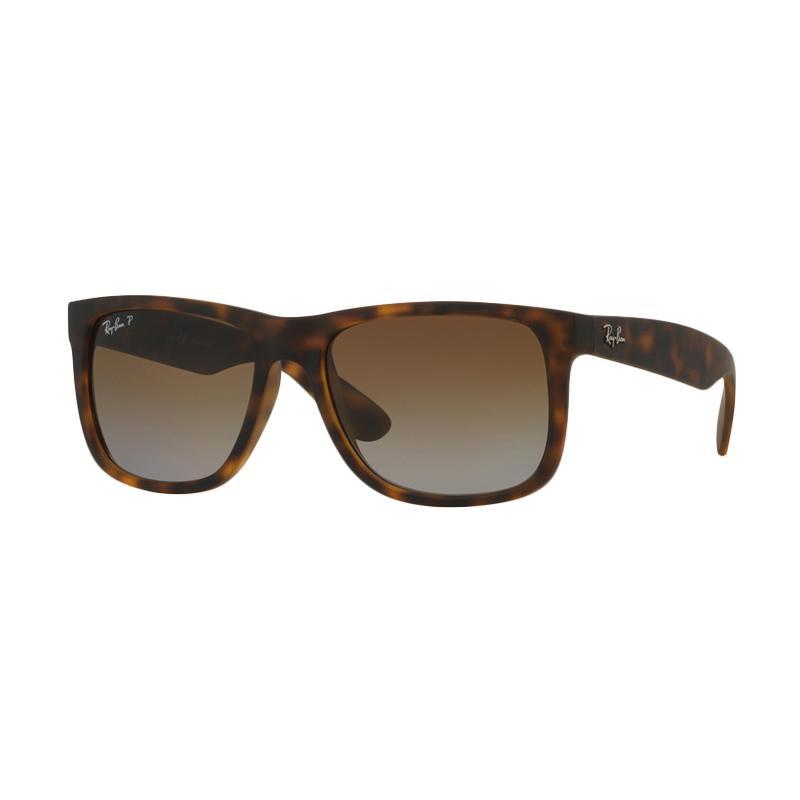 Ray-Ban RB4165F-865-T5 Sunglasses Justin - Havana Rubber Polar Brown Gradient [Size 55]