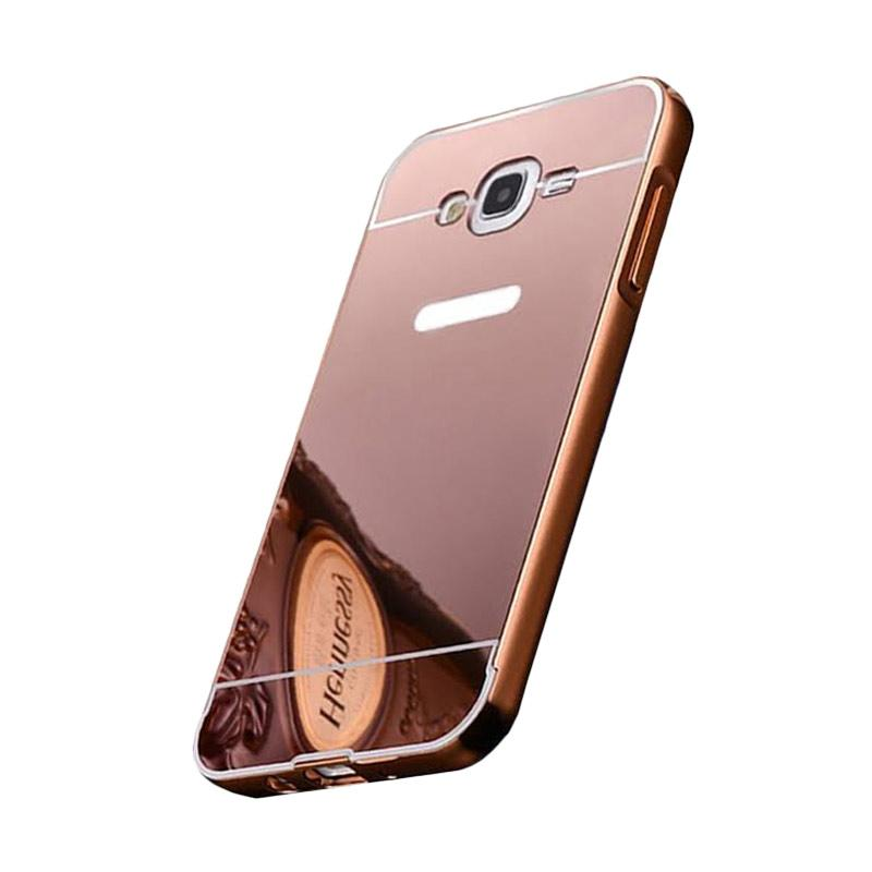 Bumper Case Mirror Sliding Casing for Samsung Galaxy Mega 5.8 Inch - Rose Gold