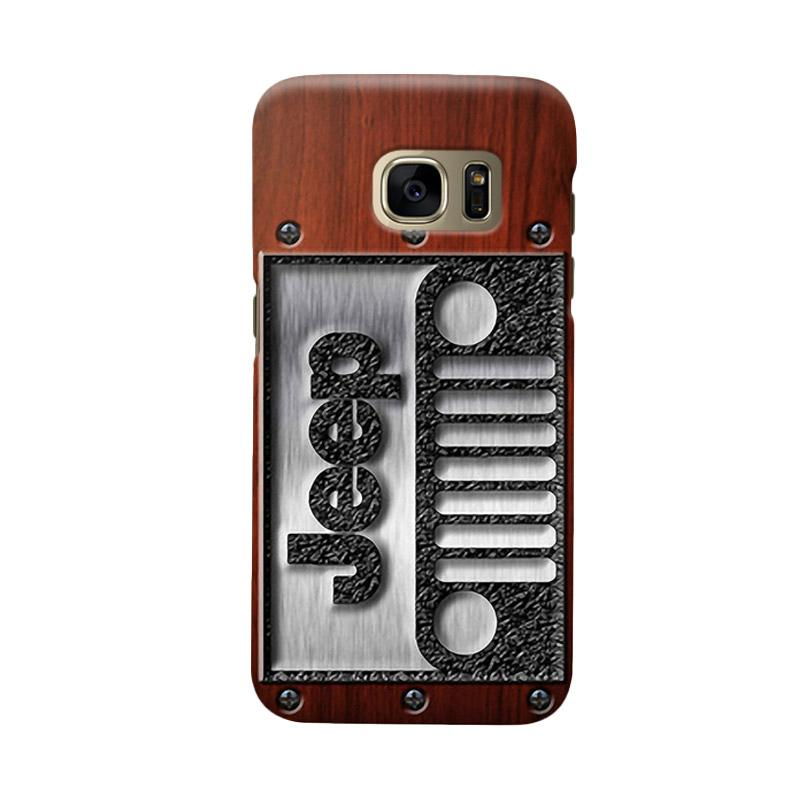 Indocustomcase Jeep On Wood Cover Casing for Samsung Galaxy S7 Edge