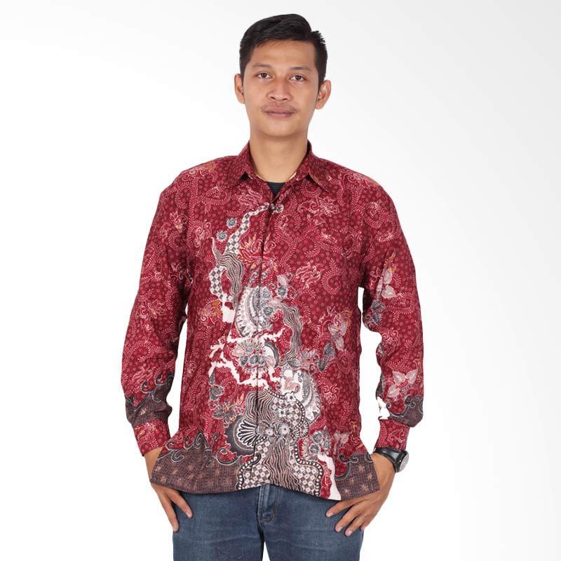 Batik Putri Ayu Solo Lengan Panjang KPJ200 Kemeja Batik Pria - Merah
