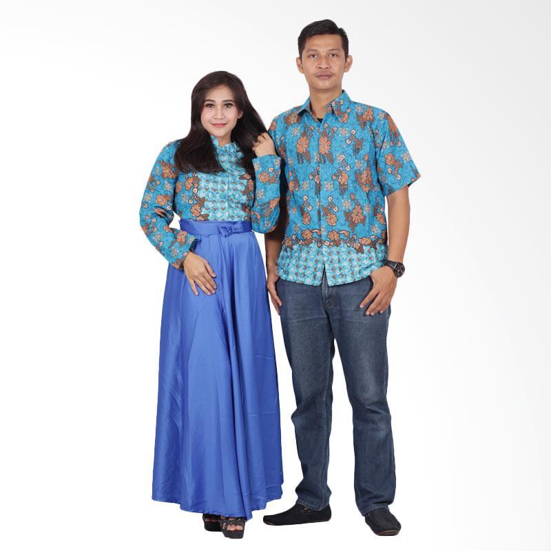 Batik Putri Ayu Solo Gamis Modern srg200 Baju Batik Couple - Biru