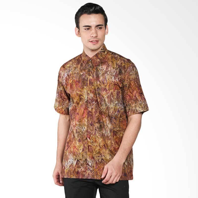 Batik Pria Tampan Cinnamon Willow Leaves PKMPD-04081669C Men Shirt - Brown