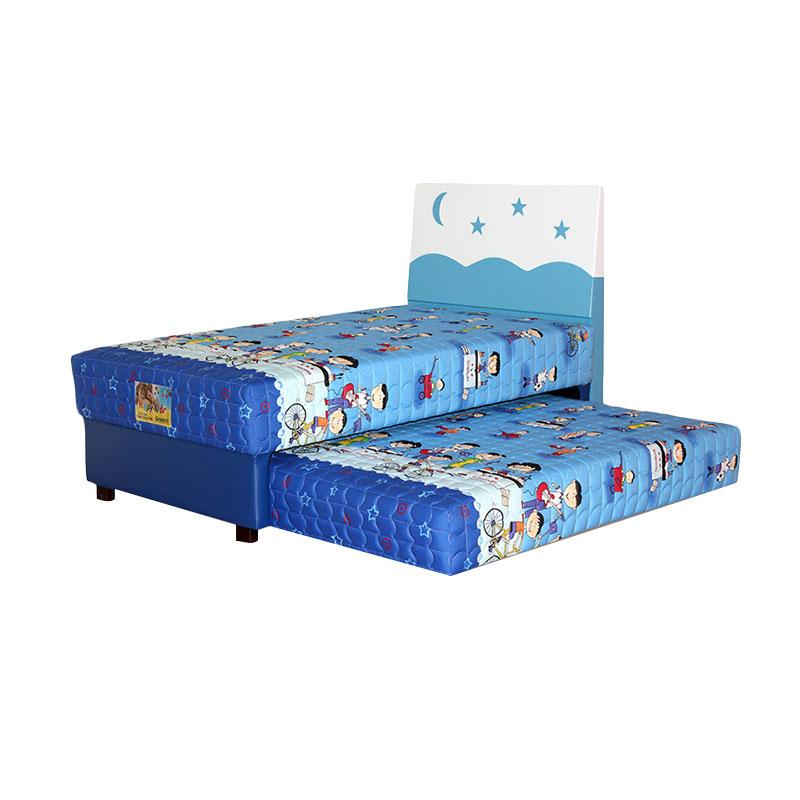 Guhdo Happy Kid 2 in1 Hb Starmoon Set Springbed - Biru [Full Set/Khusus Jabodetabek]