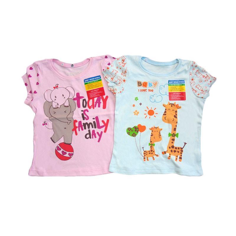 Piteku Girl Shirt Family Day Giraffe Set Baju Atasan Anak Perempuan - Pink Biru