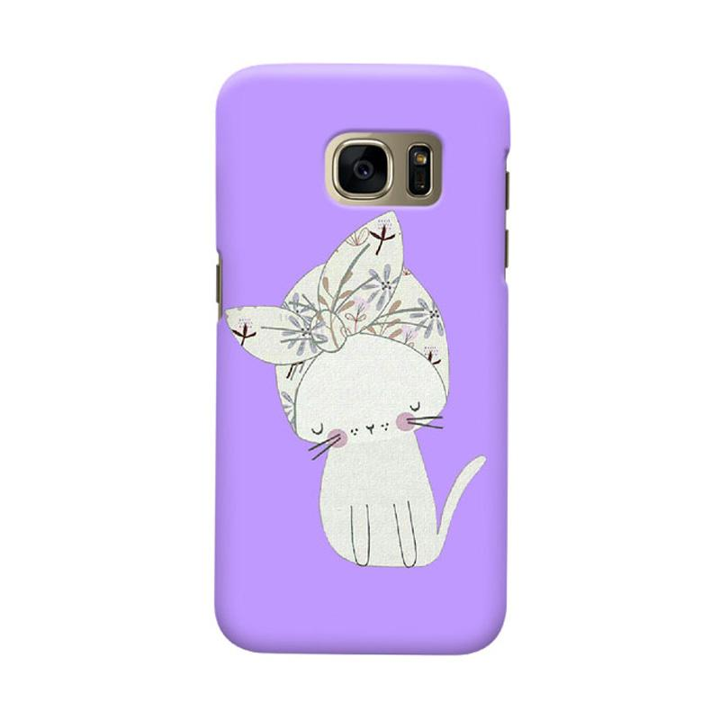 Indocustomcase Viola Cat Cover Casing for Samsung Galaxy S7 Edge