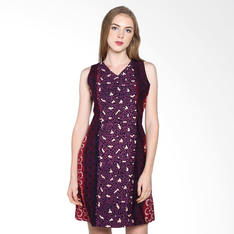 Batik Pria Tampan Wdrtl-04081622k Abstrak Stone Sleeveless Dress - Fuchsia