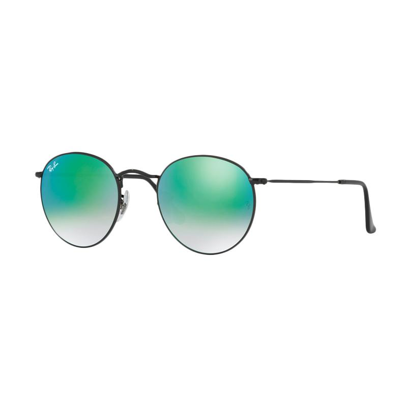 Ray-Ban 002-4J Round Metal RB3447 Mirror Gradient Green Sunglasses - Shiny Black [Size 50]