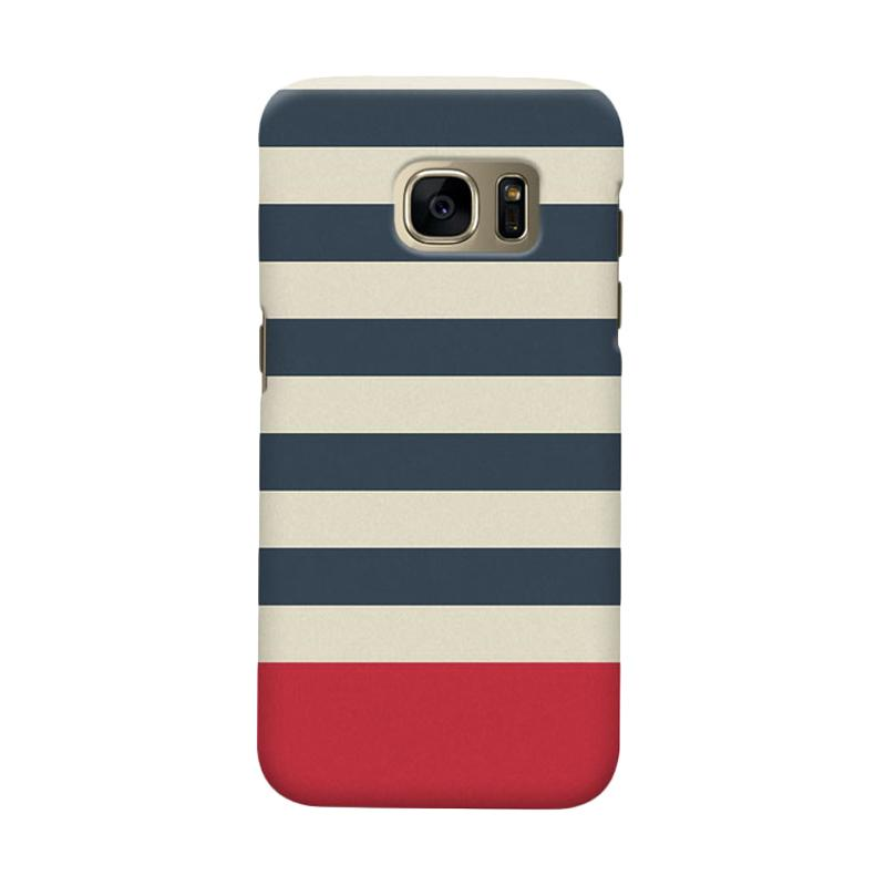 Indocustomcase Blue Stripe Cover Casing for Samsung Galaxy S6