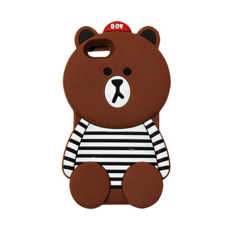 VR Silicon Case Karakter 3D Boy Bear Brown List Edition Softcase Casing for Oppo A57 - Brown