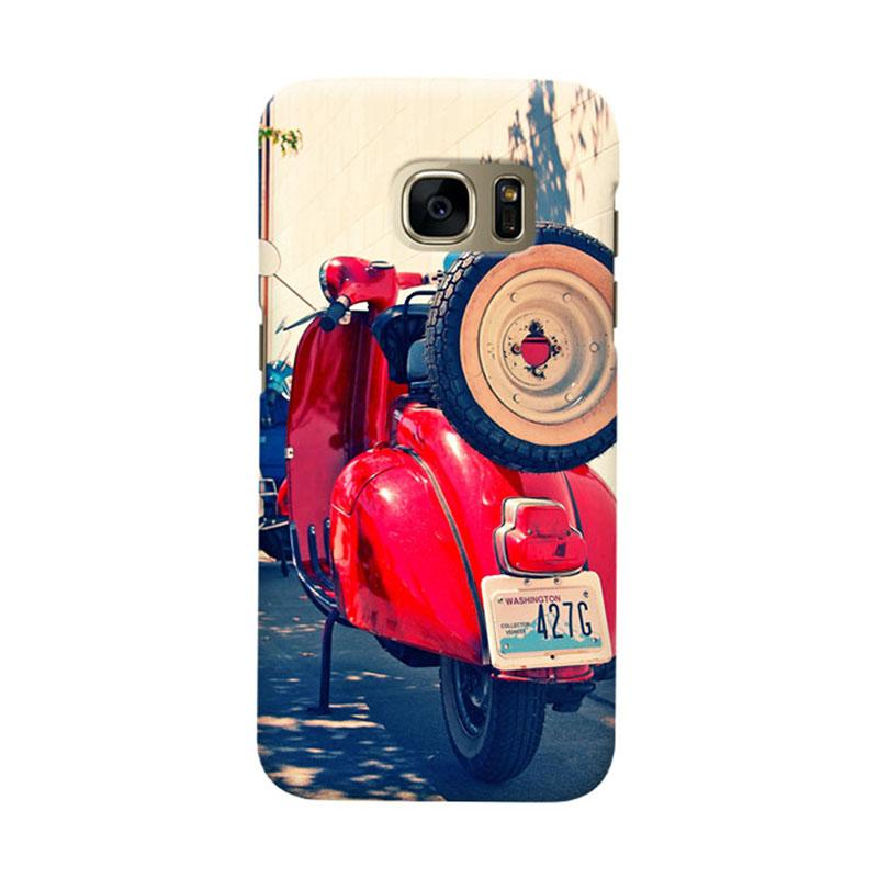 Indocustomcase Red Vespa Cover Casing for Samsung Galaxy S7 Edge