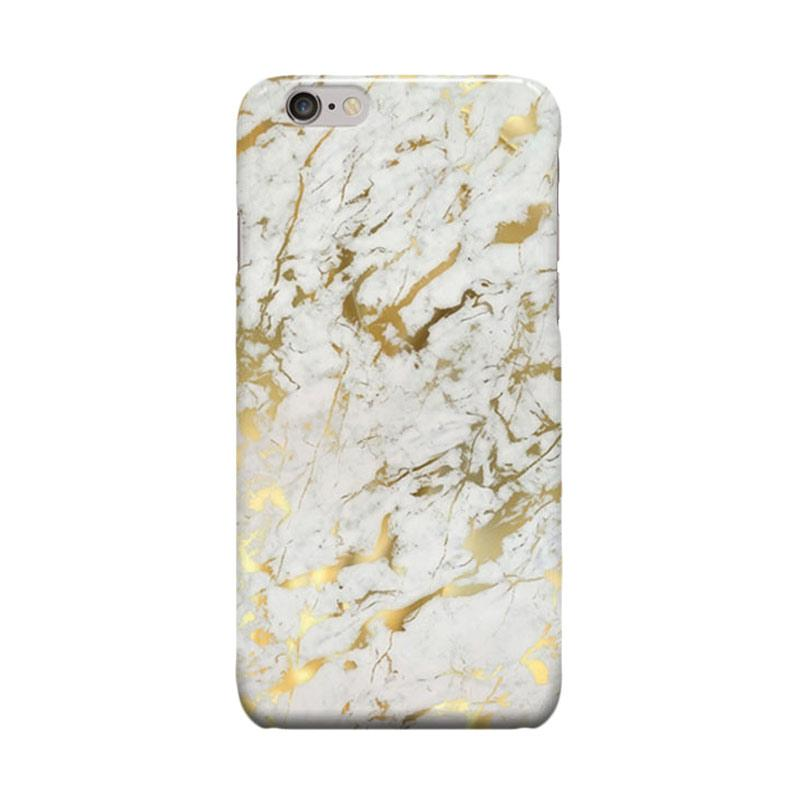 Indocustomcase Gold Marble Cover Casing for iPhone 6 Plus or 6S Plus