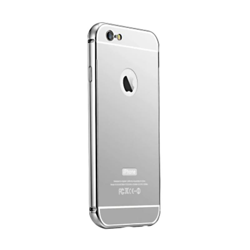 Kimi Mirror Case Aluminium Bumper Backdoor Stylish Casing for Apple iPhone 6S - Silver