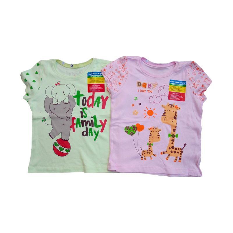 Piteku Girl Shirt Family Day Giraffe Set Baju Atasan Anak Perempuan - Hijau Pink