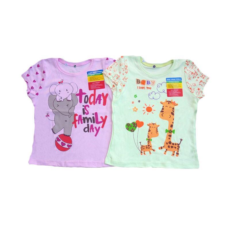 Piteku Girl Shirt Family Day Giraffe Set Baju Atasan Anak Perempuan - Pink Hijau