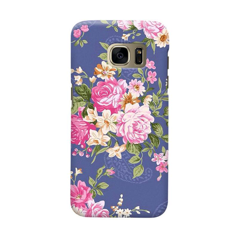 Indocustomcase Floral Rose Blue Cover Casing for Samsung Galaxy S6