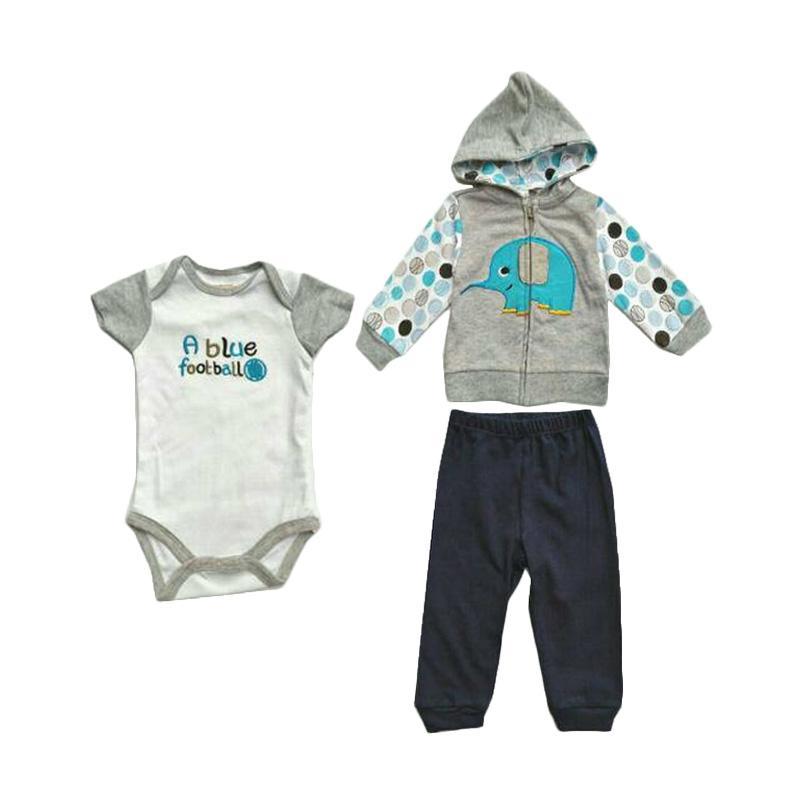 ChloebabyShop F1041D Jumper Baby Set 3 Pcs Jacket Elephant Pakaian Bayi Laki Laki