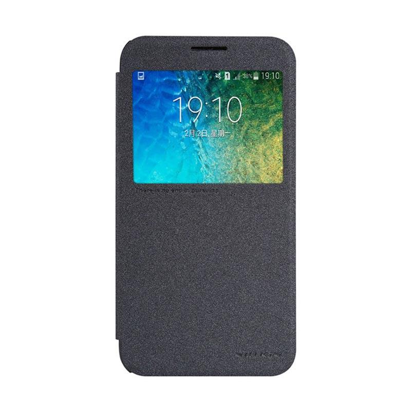 Nillkin Original Sparkle Leather Flip Cover Casing for Samsung Galaxy E5 - Black