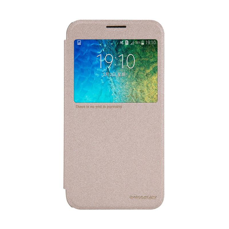 Nillkin Original Sparkle Leather Flip Cover Casing for Samsung Galaxy E5 - Gold