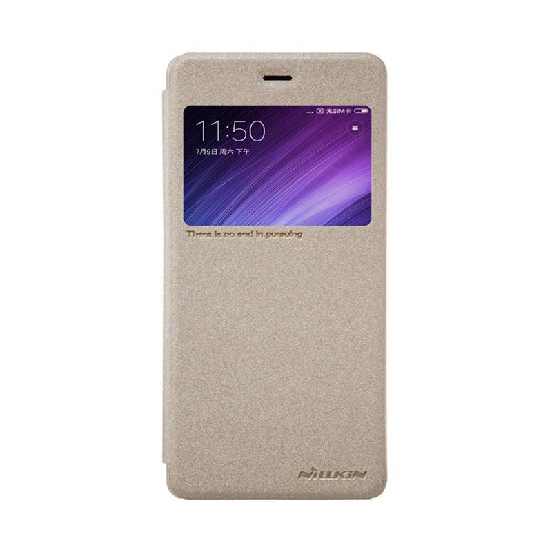 Nillkin Original Sparkle Leather Flip Cover Casing for Xiaomi Redmi 4 Pro - Gold