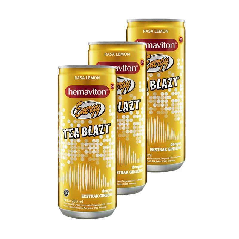 Hemaviton Tea Blazt Black Tea Rasa Lemon Minuman Teh Berenergy Kaleng [250 mL/3 pcs]