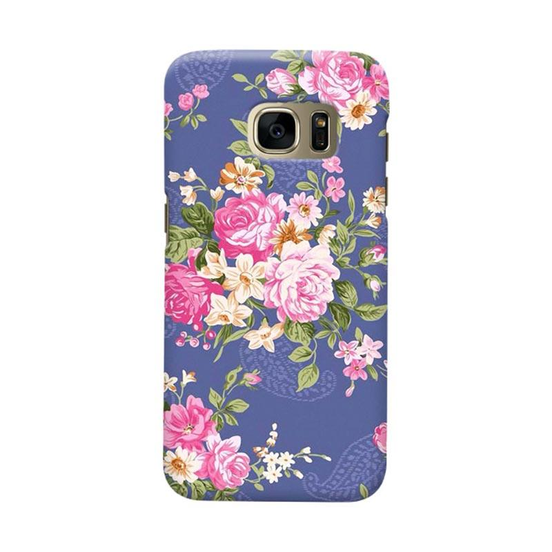 Indocustomcase Rose Blue Cover Hardcase Casing for Samsung Galaxy S7 Edge