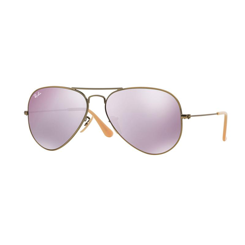 Ray-Ban Aviator Large Metal Rb3025 Demiglos Brusched Bronze 167-4K Sunglasses - Lillac Mirror [Size 58]