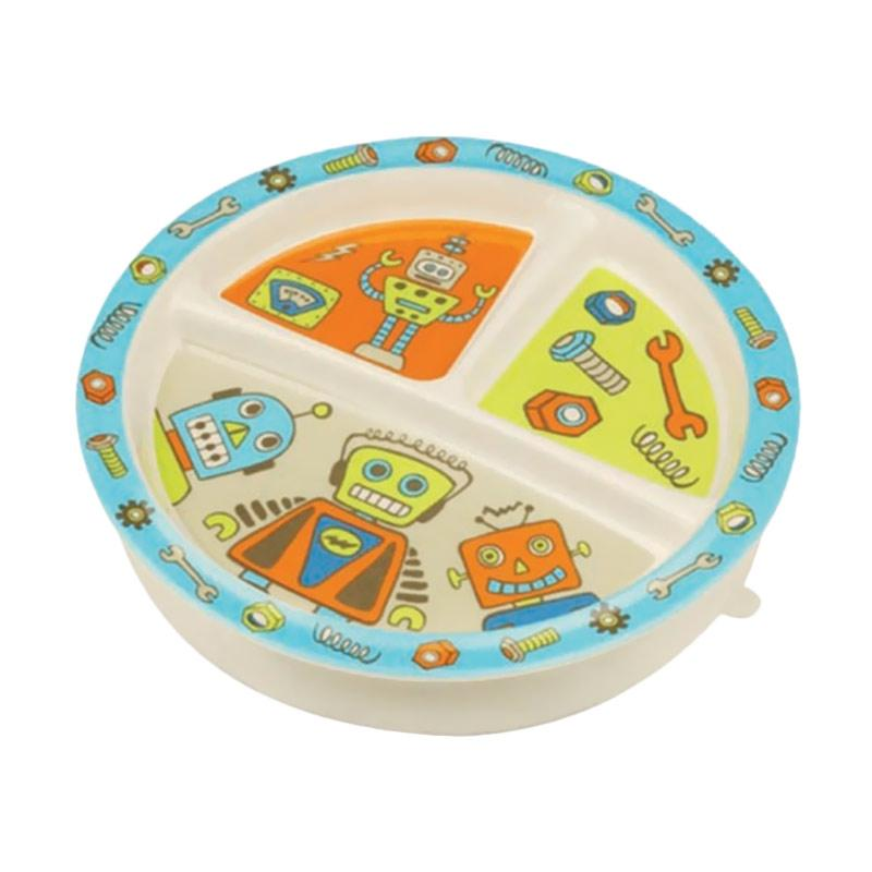 Sugar Boogar Spill Proof Baby Plate Divided Suction Plate Retro Robot Piring Makan Anak