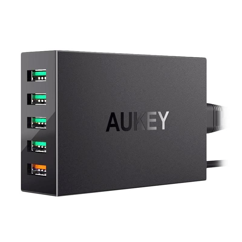 AUKEY PA-T15 Wall Charger with Qualcomm Quick Charge 3.0 - Hitam [5 Port USB]