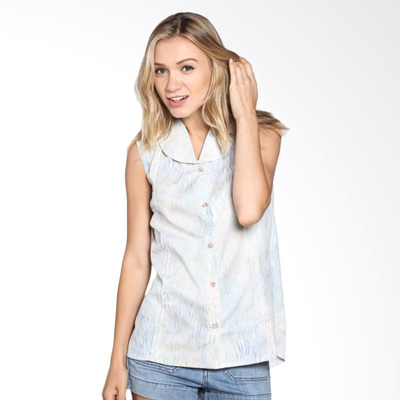 Batik Pria Tampan Wbltl-04081647c Women Sleeveless Waved Marble Shirt - Aqua
