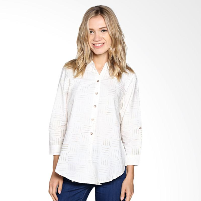 Batik Pria Tampan Wblpj-04081650c Women Longsleeve Checker Grid Shirt - White