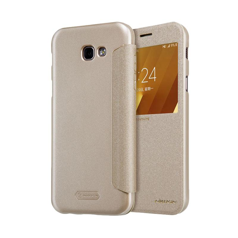 Nillkin Original Sparkle Leather Flip Cover Casing for Samsung Galaxy A3 2017 - Gold