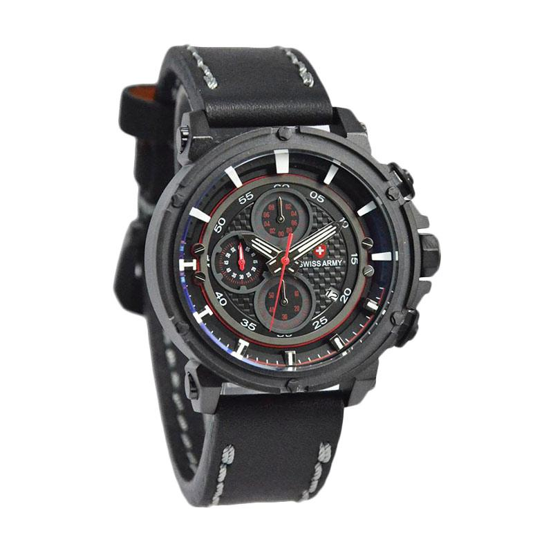 Swiss Army D46H270SA3299MHTMM Chronograph Leather Strap Jam Tangan Pria - Black