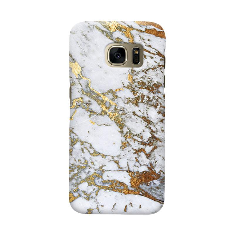 Indocustomcase Gold Marble Cover Casing for Samsung Galaxy S6 Edge