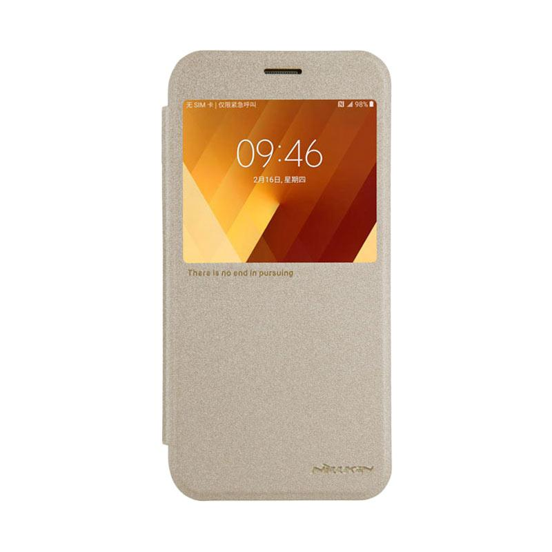 Nillkin Original Sparkle Leather Flip Cover Casing for Samsung Galaxy A7 2017 - Gold