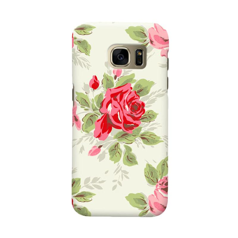 Indocustomcase Floral Rose Grey Cover Casing for Samsung Galaxy S6