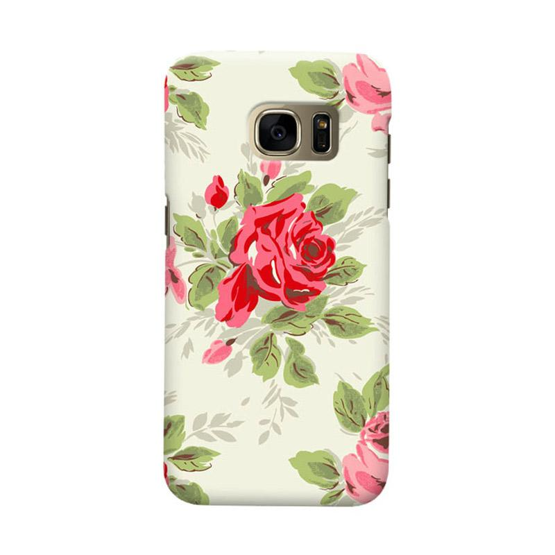 Indocustomcase Floral Rose Grey Cover Casing for Samsung Galaxy S7