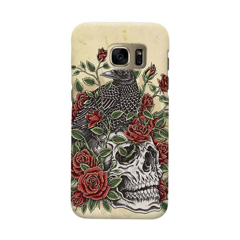 Indocustomcase Floral Skull Cover Casing for Samsung Galaxy S7