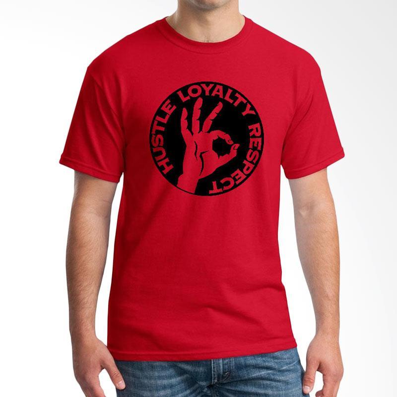 Jersi Clothing Hustle Loyalty Respect Velvet Print Kaos Pria - Red Extra diskon 7% setiap hari Extra diskon 5% setiap hari