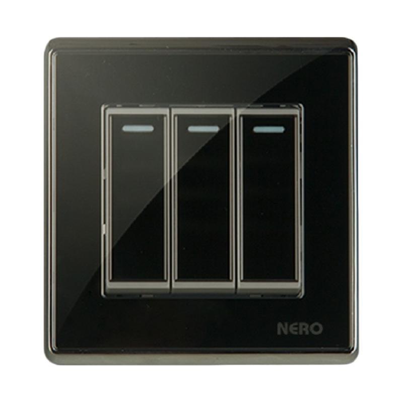 harga Nero A91632-B Crystal Saklar Listrik - Black [3 Gang 2 Way Switch