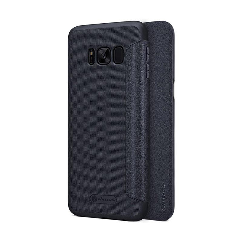 Nillkin Original Sparkle Leather Flip Cover Casing for Samsung Galaxy S8 Plus - Black
