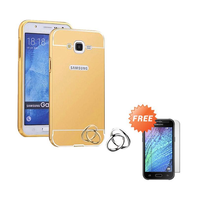 harga Jagostu Bumper Mirror Casing for Samsung Galaxy Grand Prime G530 - Gold + Free Tempered Glass Screen Protector Blibli.com