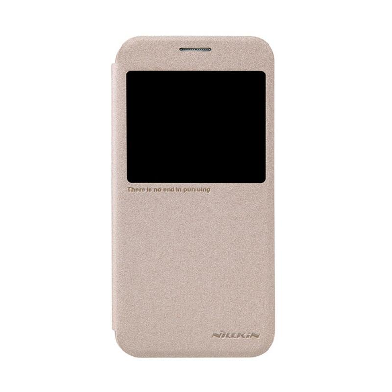 Nillkin Original Sparkle Leather Flip Cover Casing for Samsung Galaxy S6 - Gold