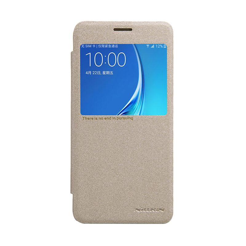 Nillkin Original Sparkle Leather Flip Cover Casing for Samsung Galaxy J5 2016 - Gold