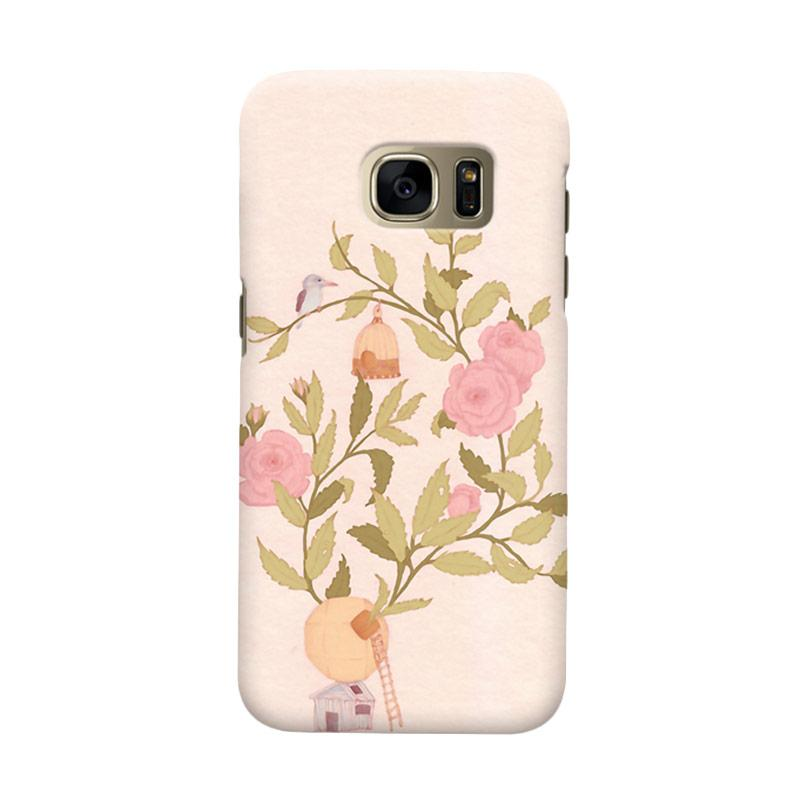Indocustomcase Floral Rosebirds Cover Casing for Samsung Galaxy S7