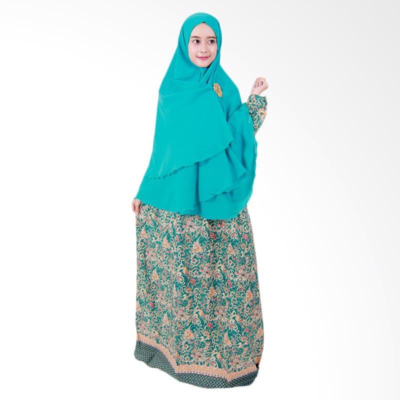 Batik Putri Ayu Solo Gamis Syari GH3 Dress Muslim - Hijau Tosca