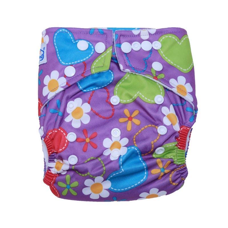 harga Babyland New Pocket Purple Flower Baby Clodi with 2 Inserts 3 Layers Microfiber Blibli.