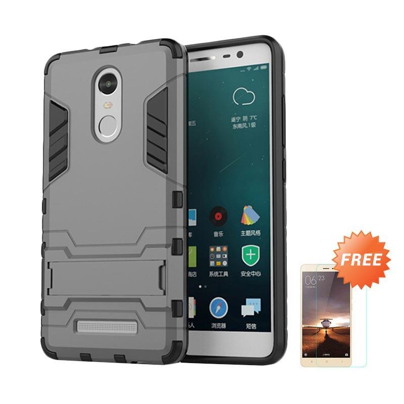 Jual Case Shield Armor Kickstand Series Casing for Xiaomi Redmi Note 3 Pro - Abu-abu + Free Tempered Glass Screen Protector Online - Harga & Kualitas ...