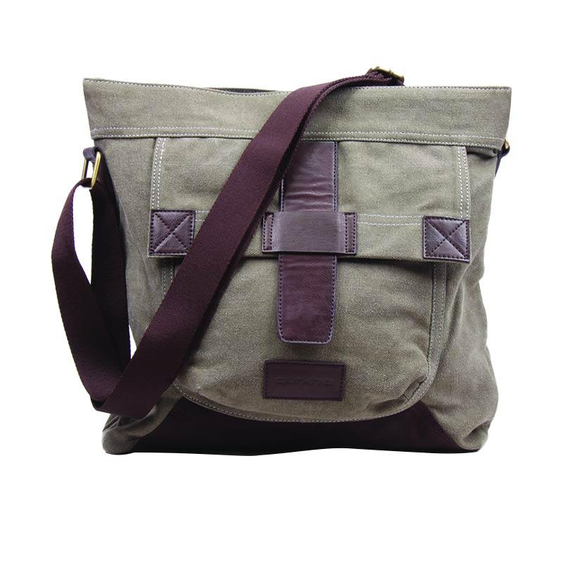 Gurkha BMR-22 Messenger Bag Canvas Unisex with Syntethic Leather Tas Selempang - Green Army